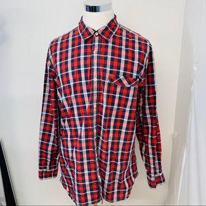 Gap Shirt Men XXL 2XL Red Plaid Cotton Buttons G20